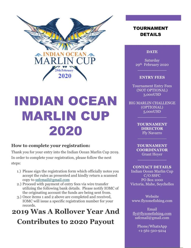 indian, ocean, marlin, cup, first, competition, fishing, flyzone, seychelles, 2020, billfish, black, blue, sailfish, striped, tournament, entry, form, how to, enter, download, prizes, roll over, fishing, limits, sports, fishing, club